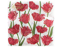 Салфетки столовые (ЗЗхЗЗ, 20шт)  La Fleur  Кучерявые тюльпаны (023) (1 пач)