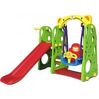 Детская игровая площадка. Горка, качели, баскетбол 4 в 1 Зеленая, фото 1