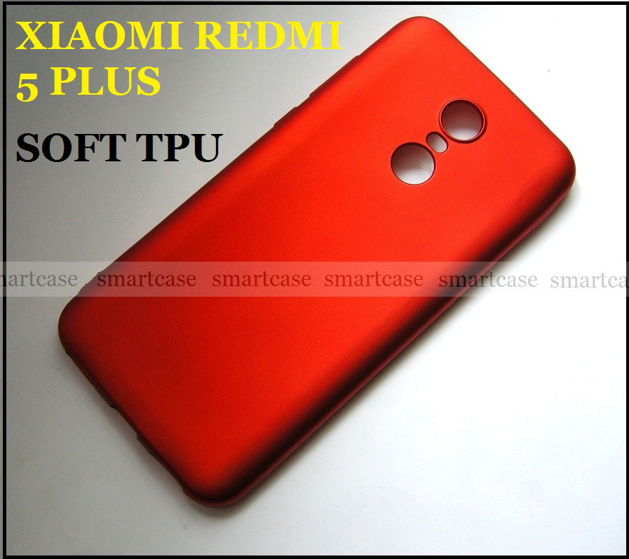 Красный Soft Tpu чехол бампер для Xiaomi Redmi 5 Plus, не скользкий с перламутровым оттенком