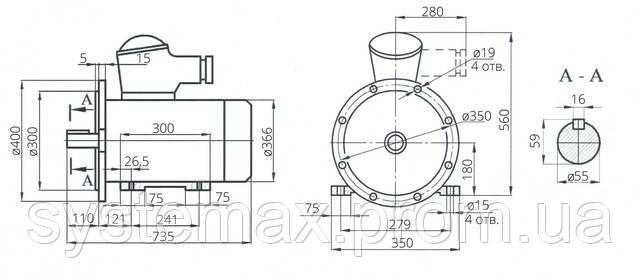 Взрывозащищенный электродвигатель АИМ 180М8 (АИММ 180М8)