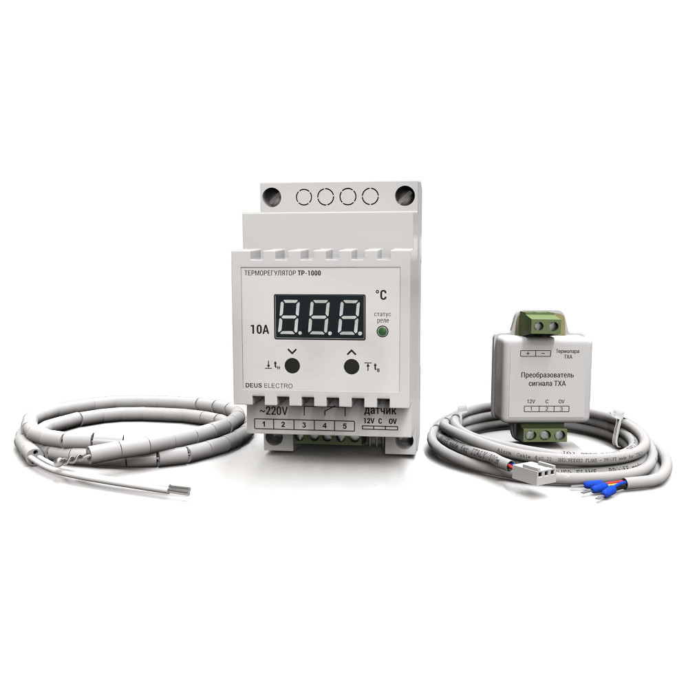 Терморегулятор для высоких температур цифровой на DIN-рейку DEUS ELECTRO ТР-1000 (10А, 220В, 999°C)