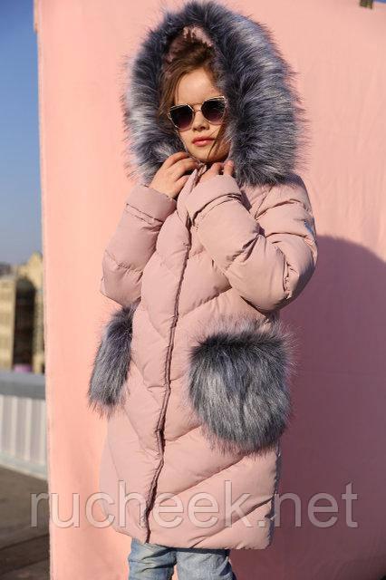 Детская зимняя куртка пуховик для девочки Банни, рост 116 - 158, Украи