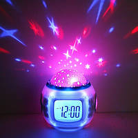 Новинка!Часы-будильник с проектором звезд,ночник