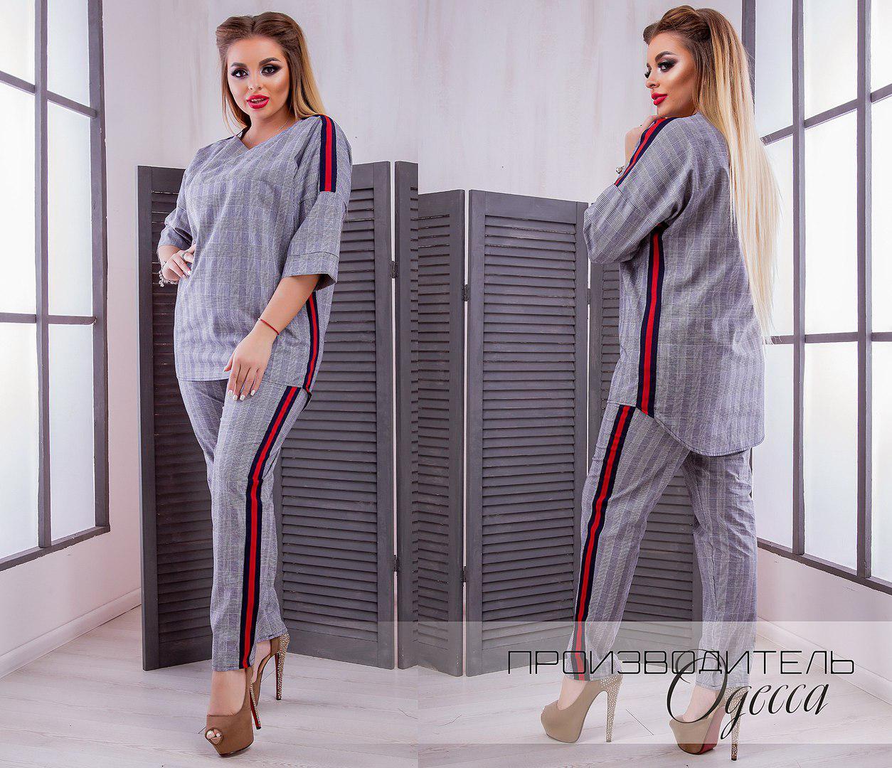 9f43b638780a Женский брючный костюм двойка штаны+кофта лен батал размеры:48-62  РАСПРОДАЖА!