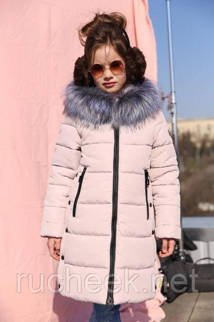 Зимнее детское пальто для девочки Вики рост 116 - 158, Украина