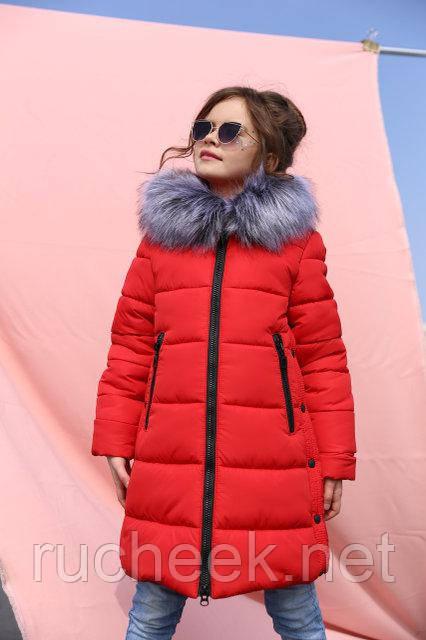 Зимнее детское пальто для девочки Вики рост 116 - 158, Украина алый