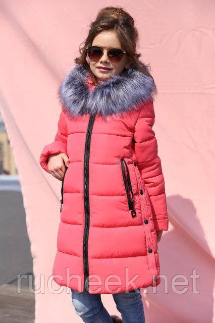 Зимнее детское пальто для девочки Вики рост 116 - 158, Украина коралл