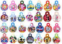 Медальки дитячі картонні з героями з улюблених мультфільмів