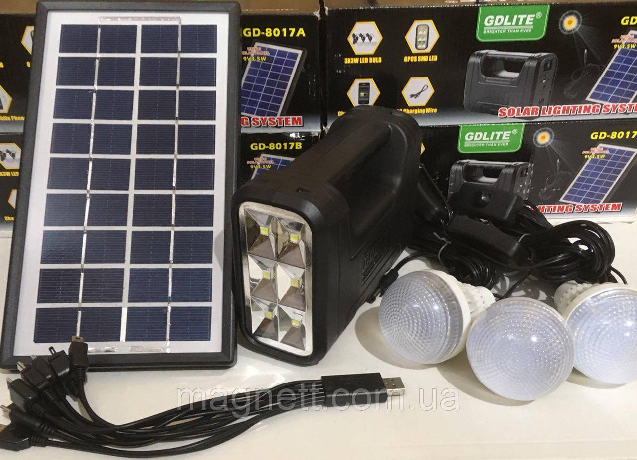 Солнечный набор GD LITE GD-8017 (Лампа-фонарь с аккумулятором), солнечная система