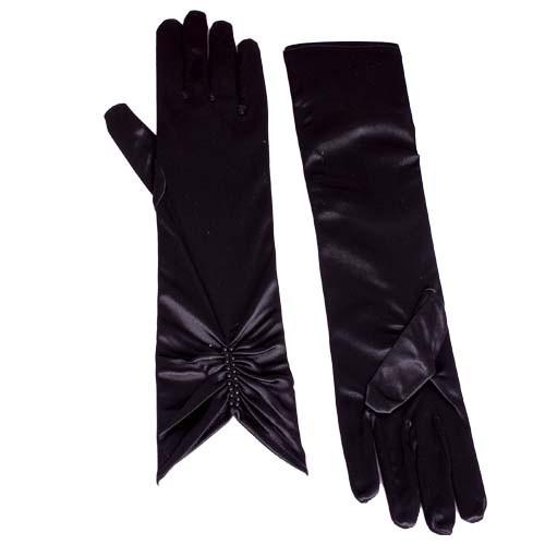 Перчатки стрейч-атласные, длинные, черные