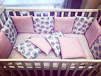 """Бортики в кроватку """"Совы на белом + розовые точки на розовом"""""""