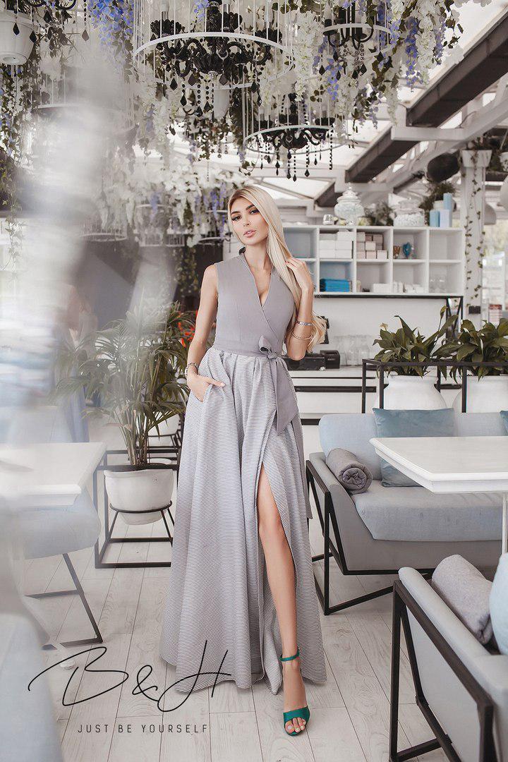 Платье на запах льняное