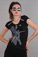 Женская футболка (реплика) Adidas черного цвета
