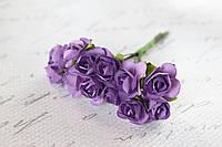 Декоративные бумажные цветочки, розы 2 см 12 шт/уп. на ножке фиолетового цвета, фото 1