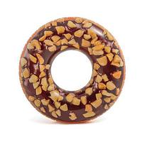 Надувной круг для плавания : шоколадно- ореховый пончик
