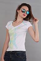 Женская футболка (реплика) Adidas белого цвета