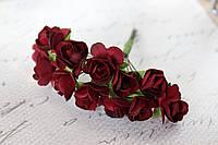 Декоративные бумажные цветочки, розы 2 см 12 шт/уп. на ножке бордового цвета, фото 1