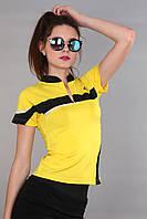 Женская футболка (реплика) Adidas желтого цвета