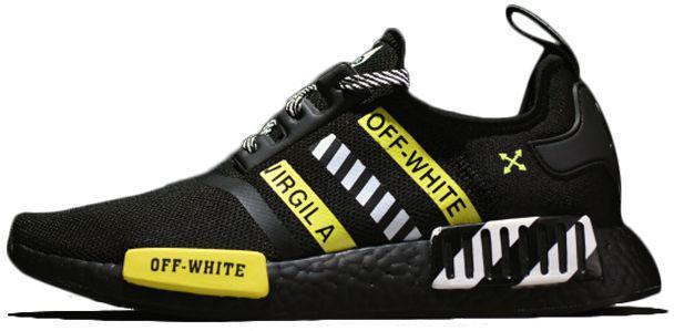 """Мужские кроссовки adidas NMD R1 х OFF-White """"Black/White/Yellow"""" (Адидас НМД х ОФФ-Вайт) черные"""