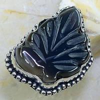 Необычное кольцо резной черный агат оникс. Кольцо с черным ониксовым агатом в серебре 20 размер Индия