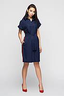 Женское Синее льняное платье с лампасом, цвет: синий