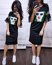 Стильное платье с разрезами и сеткой на рукавах, размер единый 42-44, фото 2