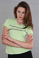 Женская футболка (реплика) Adidas салатового цвета