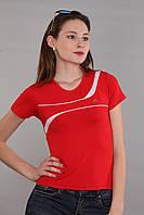 Женская футболка (реплика) Adidas красного цвета