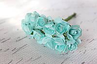 Декоративные бумажные цветочки, розы 2 см 12 шт/уп. на ножке мятного, нежно-бирюзового цвета, фото 1