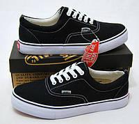 Мужские кеды Vans authentic black (черные) Реплика