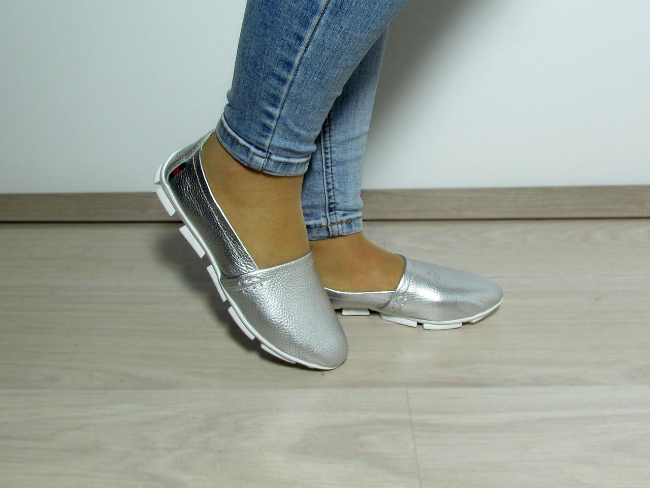 Женские кожаные мокасины серебряного цвета - Avantgarde в Харьковской области