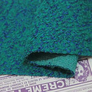 Пальтовая ткань букле меланжевая бирюзовая