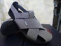 Стильные кожаные серые сандалии Bertoni, фото 1