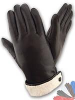 Женские перчатки из натуральной кожи на подкладке из натурального меха модель 043