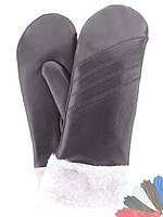Женские перчатки из натуральной кожи на подкладке из натурального меха модель 067