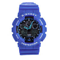 Стильные! Спортивные Часы Casio G-Shock ga-100 BLUE (касио джи шок синие) Наручний годинник