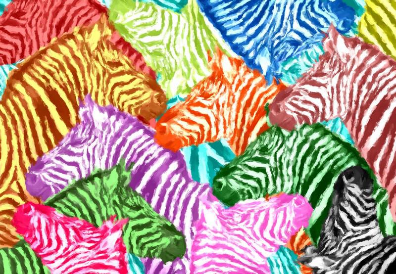 Фотообои ArtWalls Фотообои Разноцветные зебры AB-21 Глянец