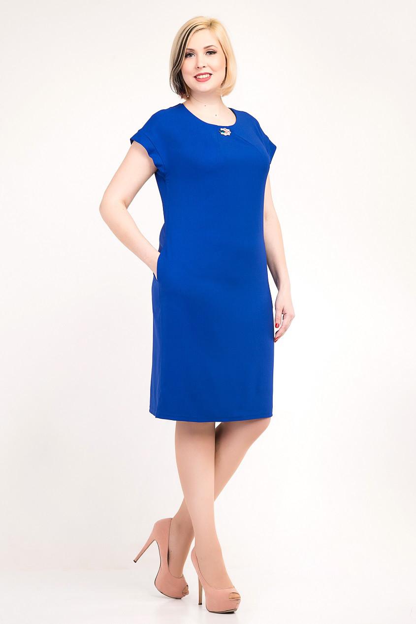 Элегантное женское платье с оригинальной спинкой, цвета электрик