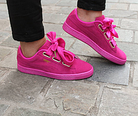 Женские кроссовки Puma Basket Suede Heart Pink (36р