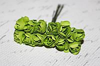 Декоративные бумажные цветочки, розы 2 см 12 шт/уп. на ножке светло-зеленого  цвета, фото 1