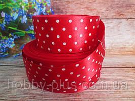Атласная лента в горошек 4 см, цвет красный