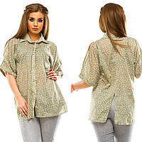 Женская свободная рубашка с разрезом сзади и разрезами на плечах Батал, фото 1