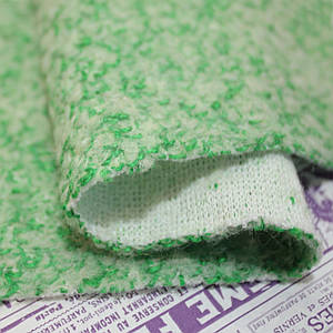 Пальтовая ткань букле меланжевая зеленая