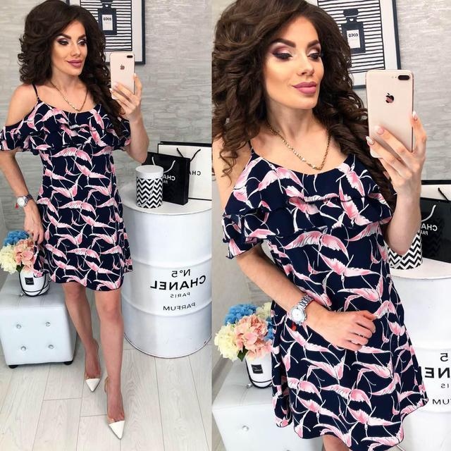 Платье короткое ,летнее  с воланом, модель 102,  принт Жар-птица на синем фоне