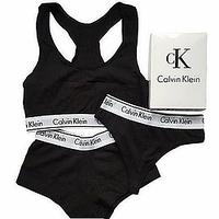 3 в 1- Женском КОМПЛЕКТЕ: топ + стринги + мини-шорты CALVIN KLEIN (Кельвин Кляйн) Хлопок. ПОДАРОК для Девушки