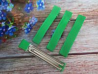 Металлическая заколка с репсовой лентой, 6 см., цвет зеленый