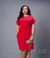 Ошатне плаття з шовку, оздоблена гіпюром і брошкою, р. 50-52,52-54,54-56,56-58 червоний (502)