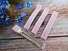 Металлическая заколка с репсовой лентой, 6 см., цвет розовый