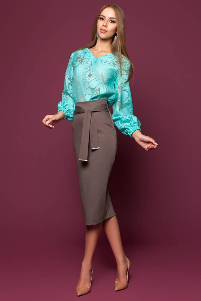 Женская Блуза, цвет: бирюзовый