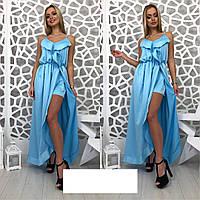 Шелковое платье в пол с разрезом